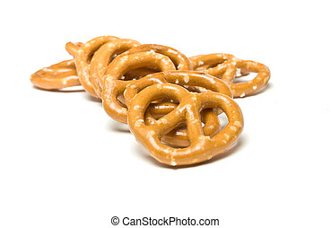 Pretzel Heap - Heap of Pretzels isolated against white...