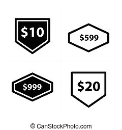 Price tags, label set vector design