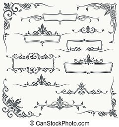 Vintage frames, corners and dividers with decorative floral ornaments