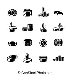 Coins Icons set 3d style.
