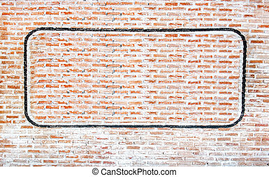 grunge brick with paint frame wall