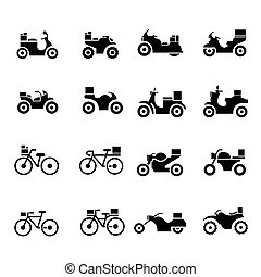motorcycle and bicycle, Transport Icons