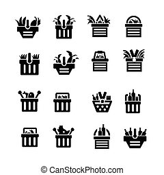 Shopping cart with foods icons