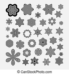 Snowflakes Abstract Design Elements Optical Art Vector...