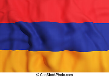Armenia flag - 3d rendering of an Armenia flag on a white...