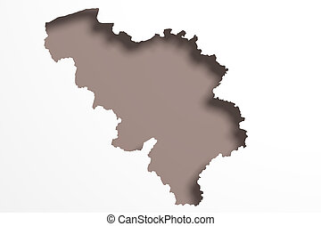 Belgium map - 3d rendering of a Belgium map on white...