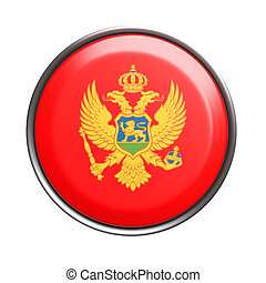 Button with Montenegro flag - 3d rendering of Montenegro...