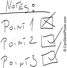 Note with check marks - Simple handwritten stylized list...