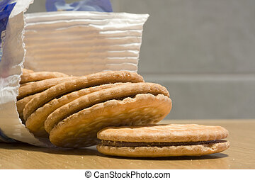 packet of biscuits - a large package of chocolate biscuits...