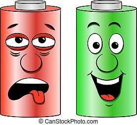 low battery and full battery - vector illustration of a low...