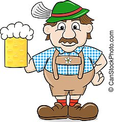 bavarian in leather pants with beer mug - vector...