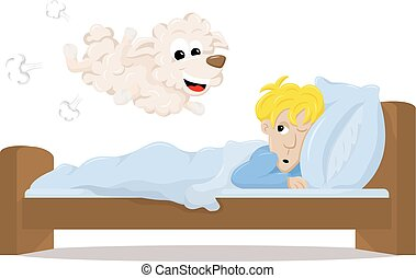 sheep jumping over the bed of a sleepless man - vector...