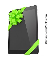 Black tablet with bow 3D rendering - Black tablet with green...