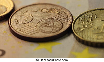 European Coins as close up
