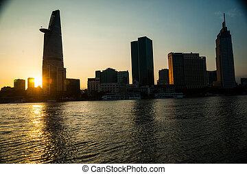 Panorama of Ho Chi Minh viewed over Saigon river....