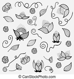 Hand drow design elements flowers - vector set - Hand drow...