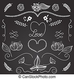 Hand drow design elements love, floral, heart - vector set -...