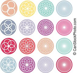 Round ornaments set. Abstract creative flowers - Geometric...