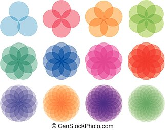 Round ornaments set Abstract creative flowers - Geometric,...