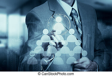 Hand carrying businessman icon network - HR,HRM,MLM,...