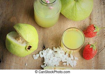 fresco, goiaba, fruta, suco