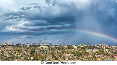 Rainbow over the city of Addis Abab - Aerial view of the...