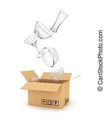 glassware falls in a cardboard box isolated on white...