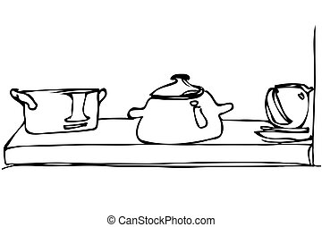 vector sketch of crockery and pan stand on a shelf - black...