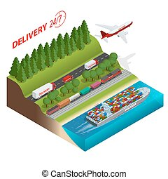 Logistics network.  Aair cargo trucking, rail transportation, maritime shipping, cargo trucs. Ontime delivery. Vehicles designed to carry large numbers cargo. Flat 3d isometric vector illustration.