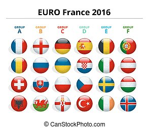 Euro 2016 in France. Flags of European countries...