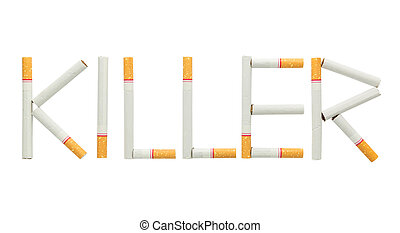 "text "" killer "" made from cigarette isolated on white..."