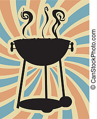 BBQ Silouette Swirl Blue Red Vector - Barbecue outline...