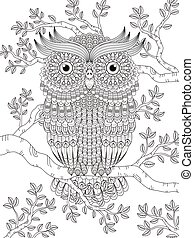 adult coloring page with gorgeous owl in the tree