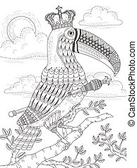 King toucan adult coloring page - adult coloring page with...