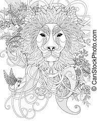 prestigious lion coloring page with floral elements with...