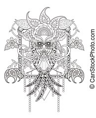 mysterious owl adult coloring page with floral elements