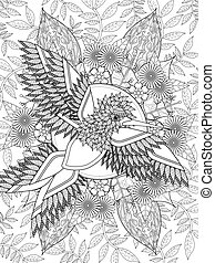 bird adult coloring page - lovely bird adult coloring page...