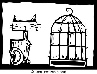 Cat and Birdcage - Cat sitting next to an empty bird cage.