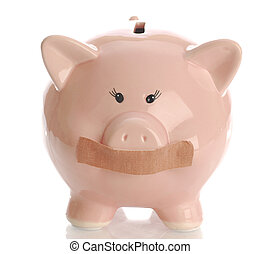 piggy bank with tape on her mouth - piggy bank hushed up...