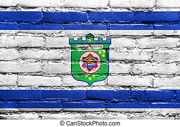 Flag of Tel Aviv, painted on brick wall