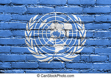 Flag of United Nations, painted on brick wall