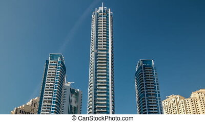 Close up View of Dubai Marina Towers in Dubai at day time...