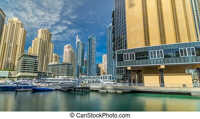 View of Dubai Marina Towers in Dubai at day time timelapse hyperlapse