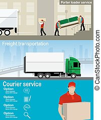 Transportation and delivery company illustration Two workers...