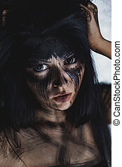Ugly dirty face - Spooky portrait of the woman Demon theme...