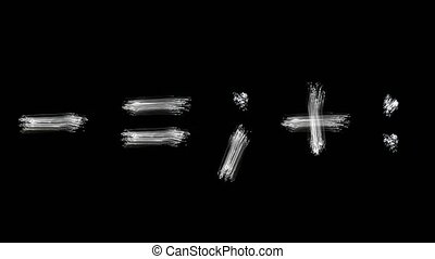 Created by light alphabet over black background. symbols....