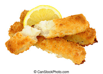 Breadcrumb Coated Cod Fish Fingers - Cooked chunky bread...