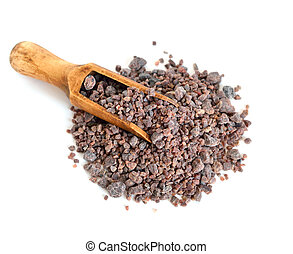 Indian Black salt Kala Namak. Isolated on white background.