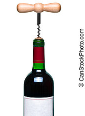 Red wine bottle and corkscrew isolated