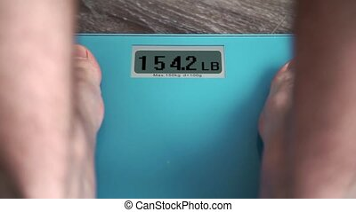 Male legs standing On A Weighing Machine - Standing On A...